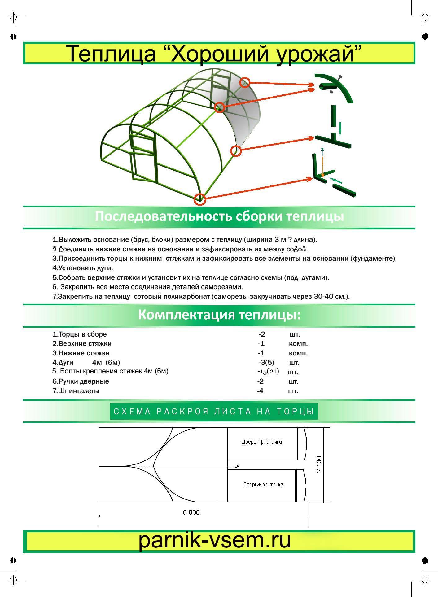 Раскрой поликарбоната на торцы теплицы схема